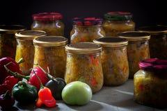 Selbst gemachtes eingemachtes Gemüse in den Glasgefäßen lizenzfreie stockfotos
