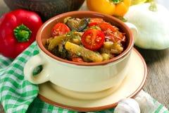 Selbst gemachtes Gemüseeintopfgericht stockfoto
