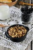 Selbst gemachtes Granola mit Jogurt und Brombeere, gesundes Frühstück Lizenzfreies Stockbild