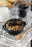 Selbst gemachtes Granola mit Jogurt und Brombeere, gesundes Frühstück Lizenzfreie Stockbilder