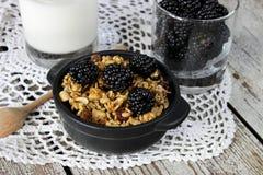 Selbst gemachtes Granola mit Jogurt und Brombeere, gesundes Frühstück Stockfotos