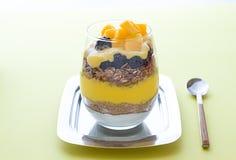 Selbst gemachtes Granola mit Mango und griechischem Jogurt in den modernen Gläsern Abschluss oben Stockfoto