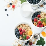 Selbst gemachtes Granola mit Trockenfrüchten und Beeren auf weißem Hintergrund stockfoto