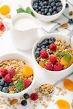 Selbst gemachtes Granola mit Trockenfrüchten und Beeren auf weißem Hintergrund lizenzfreie stockfotografie