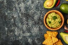 Selbst gemachtes Guacamole mit Nachos Stockbilder
