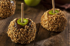 Selbst gemachtes Karamell Taffy Apple mit Erdnüssen Stockbild