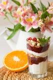 Selbst gemachtes Parfait serverd in den hohen Gläsern mit Jogurt und organische Himbeeren, Nüsse und Minze Köstlicher Snack für g Stockfotografie