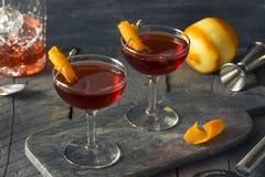 Selbst gemachtes rotes Boulevardier-Cocktail lizenzfreies stockfoto