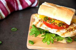 Selbst gemachtes Sandwich mit Hühnerburger-, -tomaten-, -käse- und -kohlsalat Stockfotos