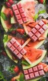 Selbst gemachtes Wassermelonenerdbeereis am stiel auf Eis mit frischen Früchten Stockfoto