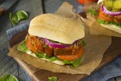 Selbst gemachtes wohlschmeckendes Hackbraten-Sandwich stockfoto