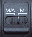 Selbst- und mannual Fokusknopf der Linse Stockfotografie