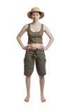 Selbstbewusste Frau in einem tropischen Sturzhelm im vollen Wachstum Stockbild