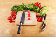 Selbstgezogenes Gemüse und Kochen der neuen und netten Farbe Stockfotografie