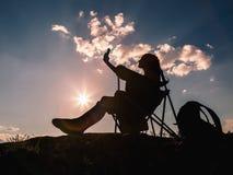Selbstporträt bei Sonnenuntergang Stockbild