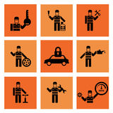 Selbstservice-Auto-Mechaniker Repair Icons Stockfoto