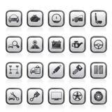 Selbstservice- und Autoteilikonen Lizenzfreie Stockfotografie