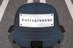 Selbstständig eigenes Geschäftskonzeptplakat Text UNTERNEHMER B?rostuhl auf markierter Rollbahn oder Landstra?e in Anfangspositio vektor abbildung