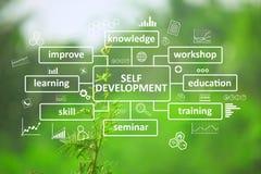 Selbstständige Entwicklung, Motivwort-Zitat-Konzept stockbilder