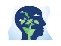 Selbstwachstum, mögliche Entwicklung, Motivation und Aspiration, psychische Gesundheit, positive Denkrichtung, Mindfulnessmeditat stock abbildung