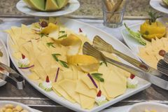 Selction of cold cheese salad food at a restaurant buffet Royalty Free Stock Photography