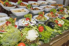 Selction of salad food at a restaurant buffet Stock Photo