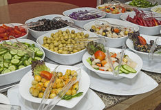 Selction of salads at a restaurant buffet Royalty Free Stock Photos