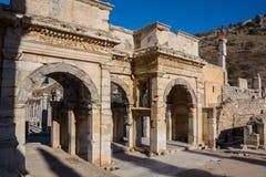 Selcuk, Izmir - die Türkei 25. November 2014 Celsus Bibliothek Die alte Stadt von Ephesus in Selcuk, Izmir - die Türkei Stockfotos