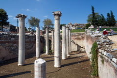 Selcuk Town, ancient columns Stock Photo