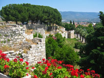 Selcuk Turkey. A view of the town of Selcuk, Turkey, from the Basilica of St John Stock Photography