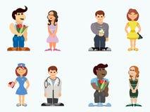 Seleção de amantes do estilo dos desenhos animados dos adolescentes Imagens de Stock