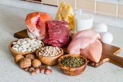 Seleção de fontes da proteína no fundo da cozinha Fotografia de Stock