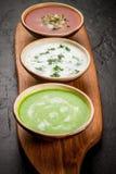 Seleção de sopas de refrescamento frias do verão Foto de Stock