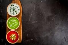 Seleção de sopas de refrescamento frias do verão Fotos de Stock Royalty Free