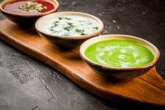 Seleção de sopas de refrescamento frias do verão Fotos de Stock