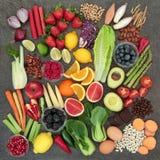 Seleção do alimento da dieta saudável foto de stock