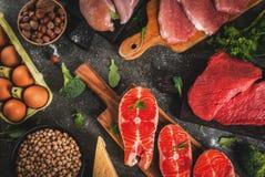 Seleção do alimento das fontes da proteína foto de stock