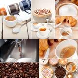 Seleção do tipo diferente do café na composição da colagem Imagem de Stock