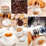 Seleção do tipo diferente do café na composição da colagem Imagens de Stock Royalty Free