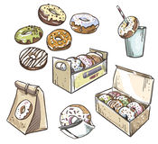 Seleção dos anéis de espuma empacotamento afastado Fast food Fotos de Stock Royalty Free