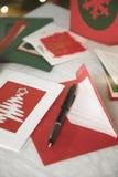 Seleção dos cartões de Natal feitos home Fotos de Stock Royalty Free