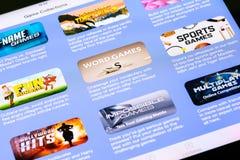Seleção dos jogos em Appstore Fotos de Stock Royalty Free