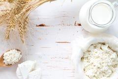 Seleção dos produtos láteos e do trigo fotos de stock