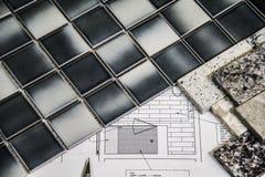 Seleção interior moderna do material da renovação do banheiro Fotografia de Stock