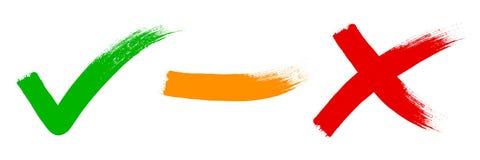 Seleção: marca de verificação, avaliação, cruz ilustração royalty free