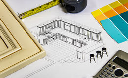 Seleção material da renovação da cozinha com porta da cozinha, amostras do armário, contadores de cozinha e cores da pintura Foto de Stock