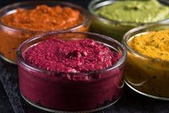 Seleção vibrante vegetal orgânica do mergulho, fundo do alimento Foto de Stock