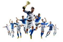 Selebrates de footballeurs la victoire sur le fond blanc Photo stock
