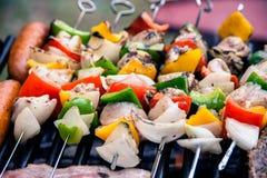 Selección de carne que asa a la parrilla sobre los carbones con las salchichas, el tocino y los pinchos picantes del pollo Foto de archivo libre de regalías