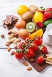 Selección de comida de la alergia, concepto sano de la vida Fotografía de archivo libre de regalías